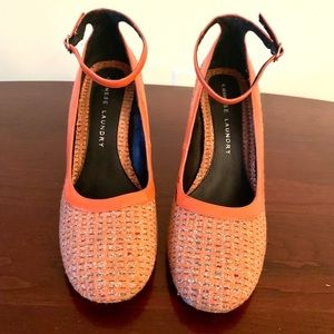 Chinese Laundry Orange Heels with Ankle Strap